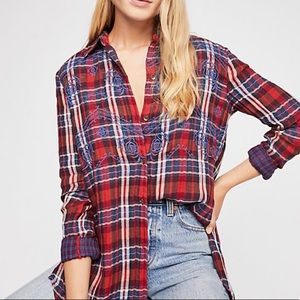 """NWT FREE PEOPLE """"magical plaid"""" top"""